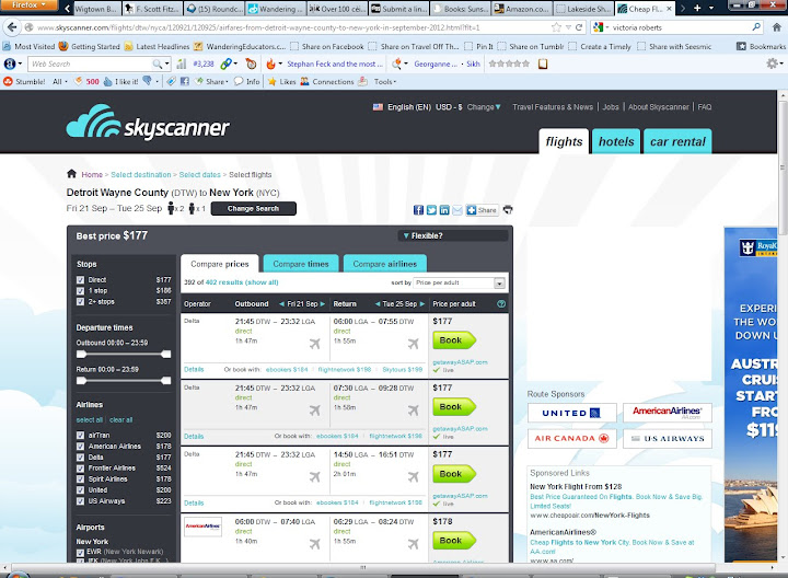 skyscanner - DTW-LGA