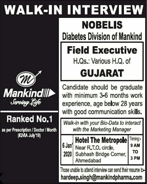 Mankind Pharma - Walk in interview for Medical Representative on 6th Jan 2020