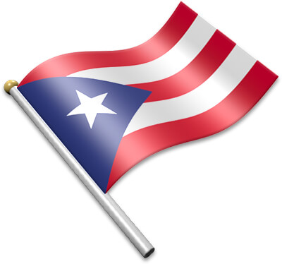 The Puerto Rican flag on a flagpole clipart image