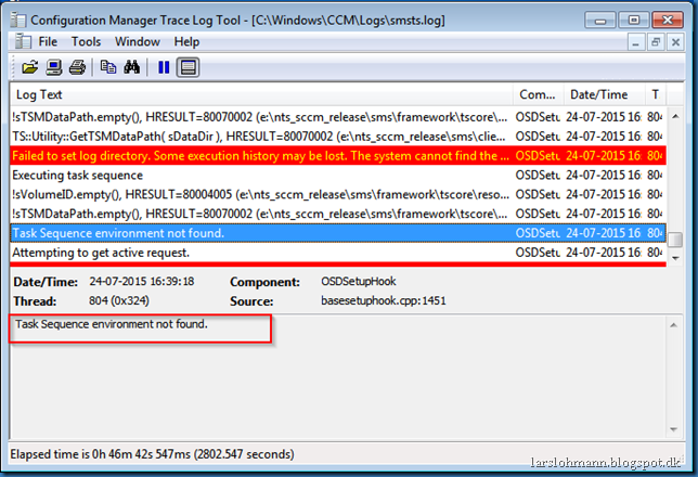 MINDCORE BLOG: Task Sequence environment not found