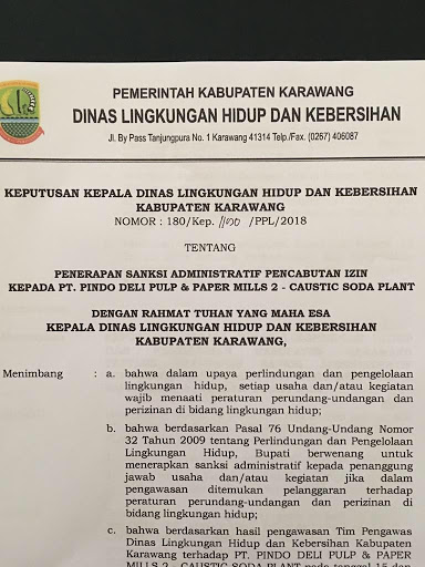 Pemkab Karawang Resmi Cabut Izin PT.Pindo Deli Pulp & Paper Mills 2- Caustic Soda Plant