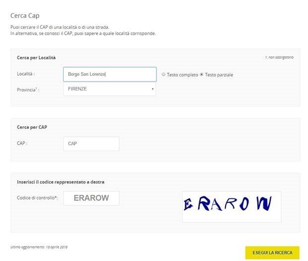 Come trovare il cap o codice postale di un indirizzo for Indirizzo postale