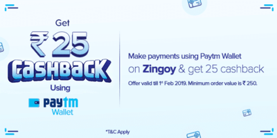 Zingoy Paytm Offer - Flat Rs 25 cashback when you pay using