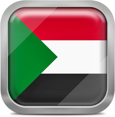 Sudan square flag with metallic frame