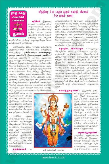 Complete and Full Rahu Kethu Peyarchi Palangal - Thulam
