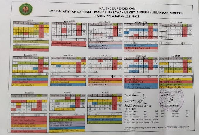 Kalender Pendidikan SMK Sadpas Cirebon Tahun Pelajaran 2021-2022