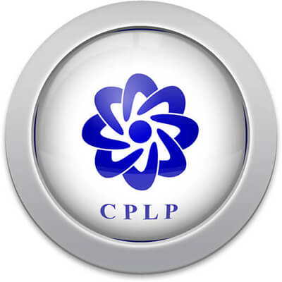 CPLP flag icon with a silver frame