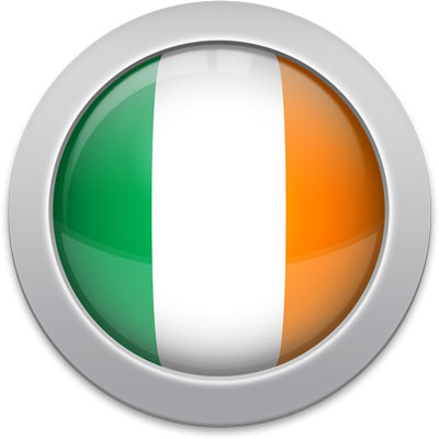 Irish flag icon with a silver frame
