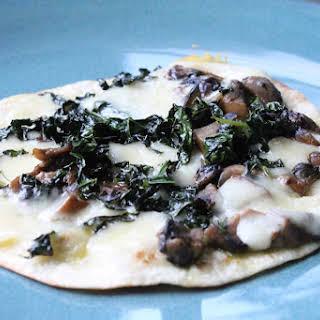 Kale and Mushroom Open Faced Quesadilla.