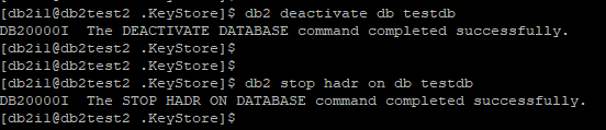 Deactivate database and stop HADR