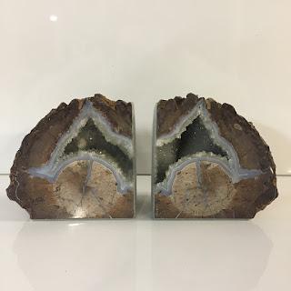 Petrified Wood Geode Pair