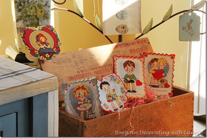Valentines Displayed in Wood Cheese Box