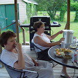 Bonnie and Pam on the back deck.