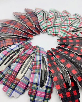plaid hair clips