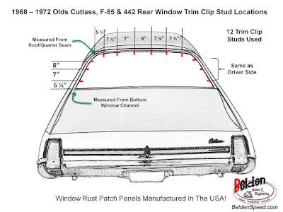 Rear Window Trim Clip Stud Location Diagram For 1968 - 1972