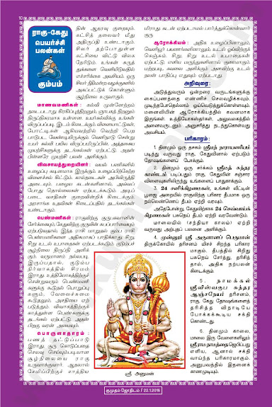 Complete and Full Rahu Kethu Peyarchi Palangal - Kumbham