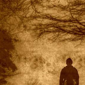 walker by Dunja Dretvić - Illustration People ( forests, mountains, sepia, hiker, illustration, processing, backpack, mountain top, man,  )
