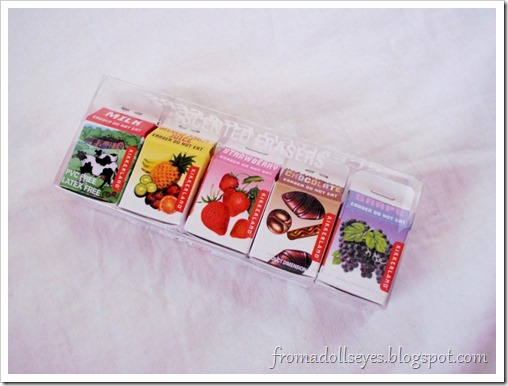 Juice and milk carton scented erasers.