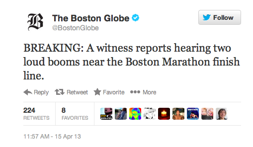 """First Boston Globe Report of Boston Marathon Bombing"""