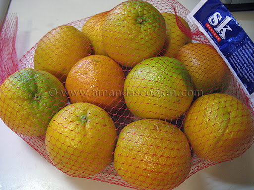 A photo of a bag of oranges.