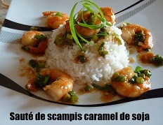 Sauté de scampis caramel de soja et riz basmati