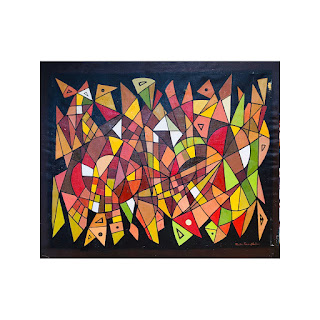 Martin Rosenthal Signed Modernist Geometric Large Scale Oil Painting