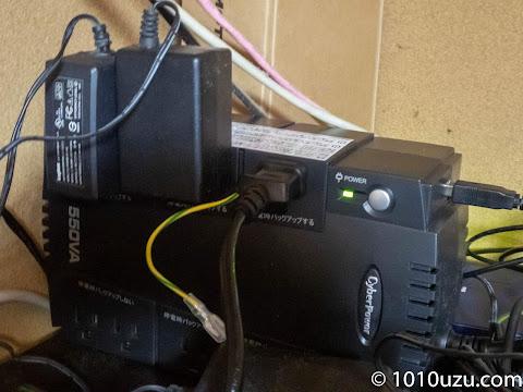 バックアップ用の外付けHDDのコンセントも停電時バックアップするの方につなげた