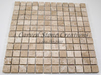 1x1 Emperador Light Marble Tumbled Mosaic