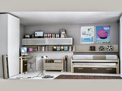Dormitorio juvenil con cama compacto de madera