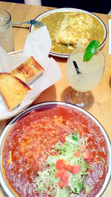 Keeping with The Shed's tradition, their New Mexican dishes are served with French garlic bread. I think I had the best dish since I got the cheese enchiladas (vegetarian so we could bot enjoy) in the legendary red chile sauce served with pinto beans & posole.