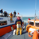 The ALB comes alongside the Brownsea Island passenger ferry - 31st March 2013. Photo credit: RNLI Poole/Dave Riley