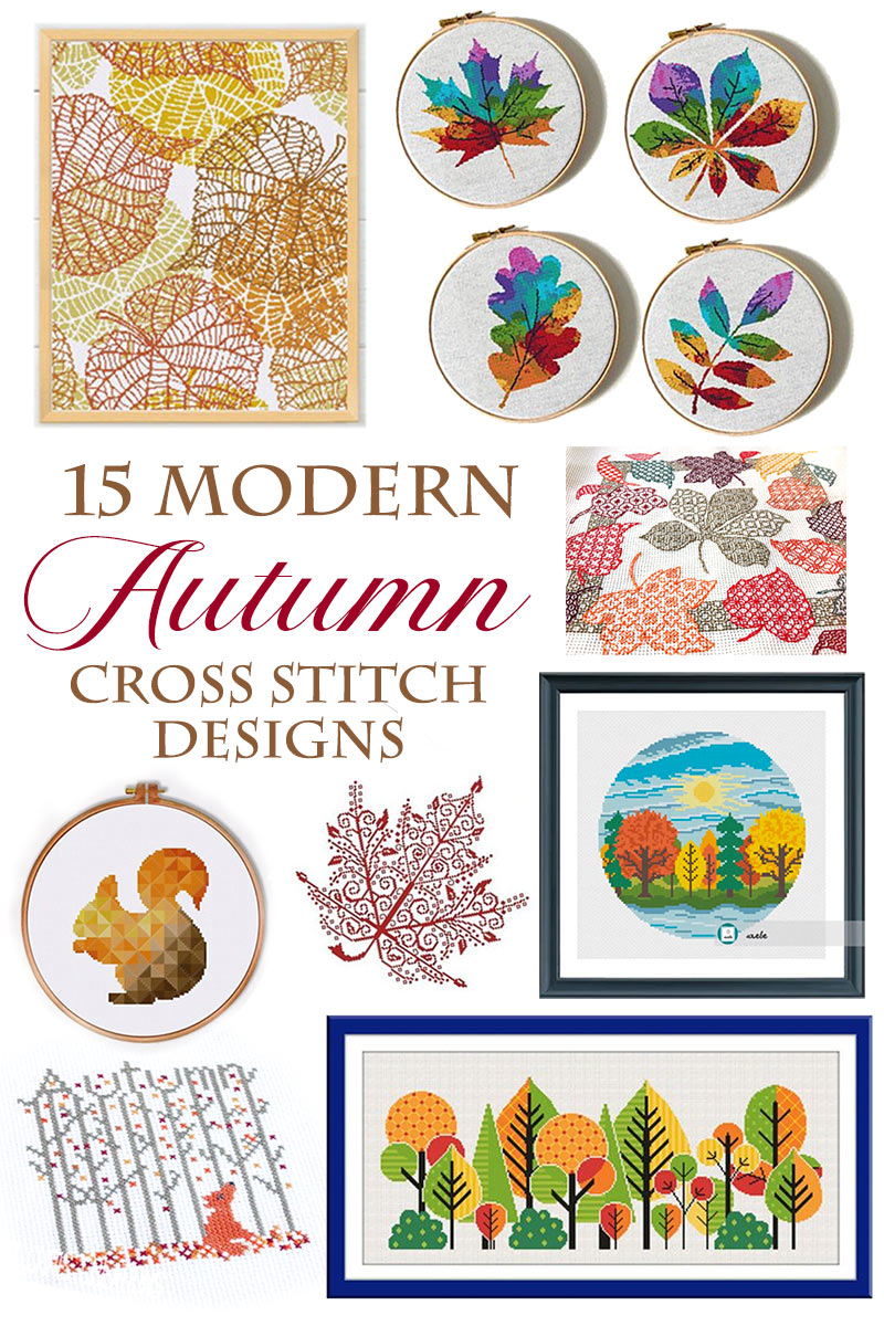 Got cross stitch?  Grab your pumpkin spiced latte and a your embroidery hoop and get inspired by these amazing MODERN FALL crossstitch designs!  Great for autumn or anytime!