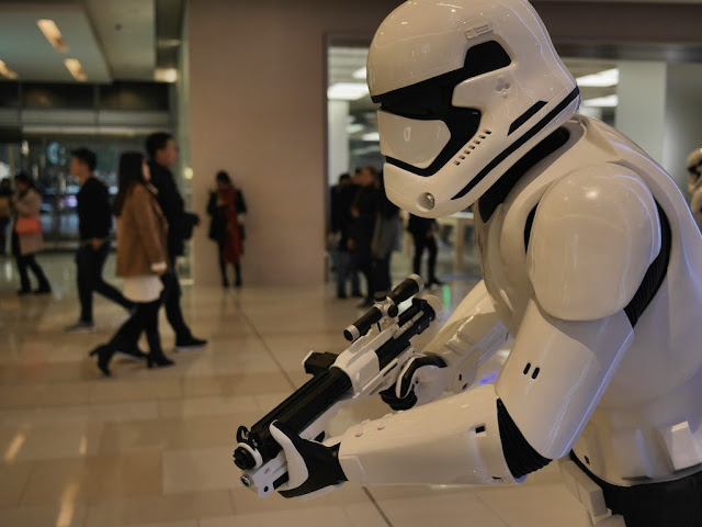 Star Wars Stormtrooper with a gun at the IAPM shopping center in Shanghai