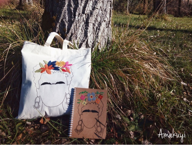 Tote-bag-libreta-craft-Frida-Kahlo-handmade