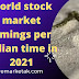 world stock market timings per Indian time in 2021