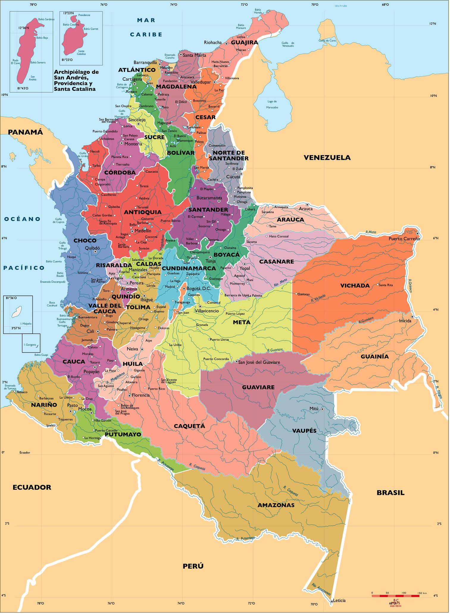 Mapa politico de Colombia para imprimi