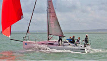 J/88 sailing with spinnaker at 25 kts!