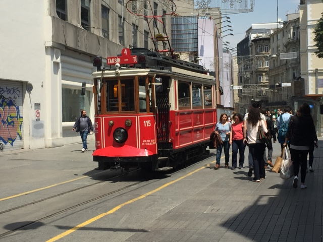 Istiklal shopping street and tram Istanbul