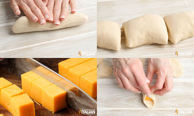 collage: rolling dough, cut dough, cut cheese, stuffing dough with cheese