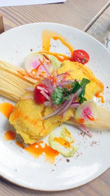 LeChon Crab Mozzarella Humita with pea puree and salsa criolla