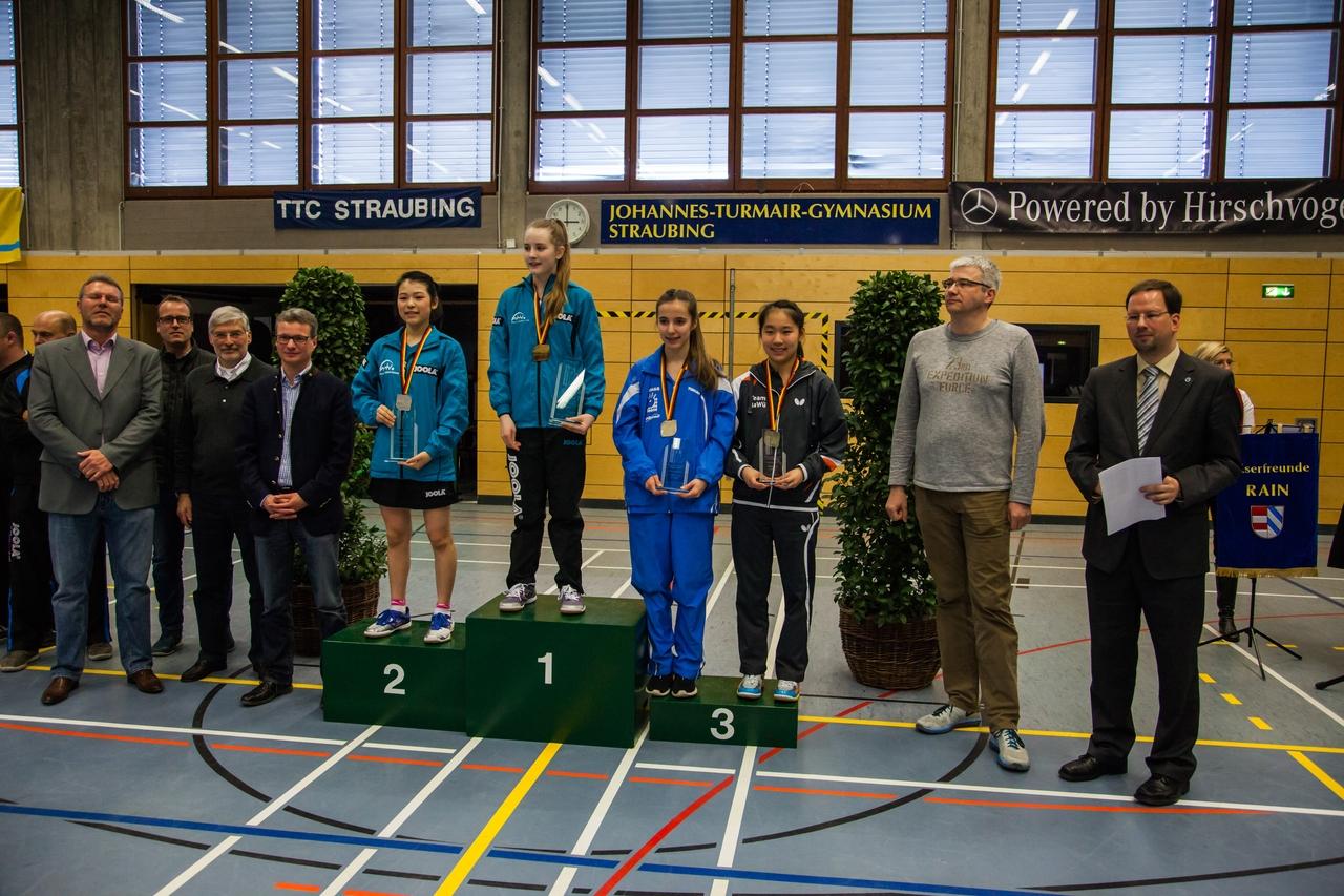 Nationale Deutsche Meisterschaften der Schüler 2016 in Straubing: Siegerehrung Schülerinnen Einzel