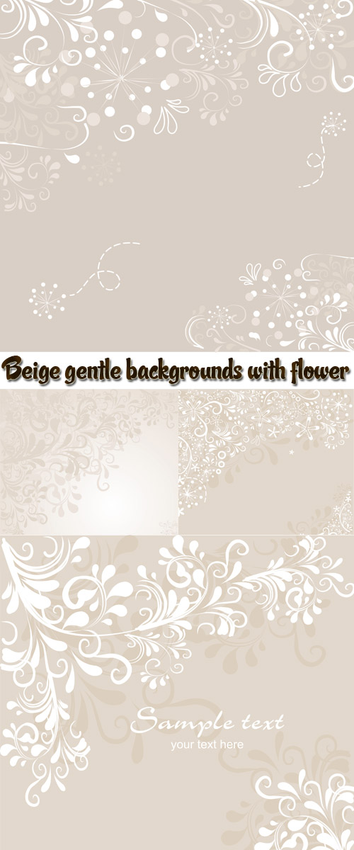 Stock: Beige gentle backgrounds with flower drawing
