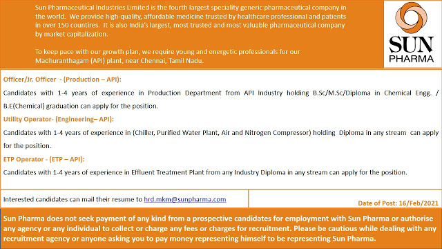 SUN PHARMA Vacancy - Urgent Openings for Production / Engineering / ETP Departments - Apply Now