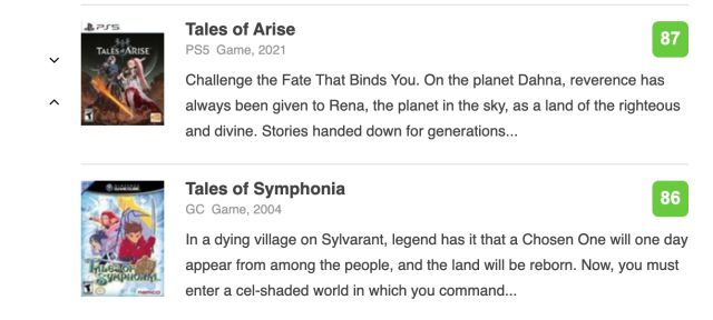 Tales of Arise lifts the bar: it's the saga's highest-rated game on Metacritic
