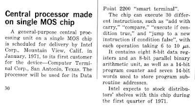 First description of the Intel 8008 processor in print. Electronic Design, Oct 25 1970.