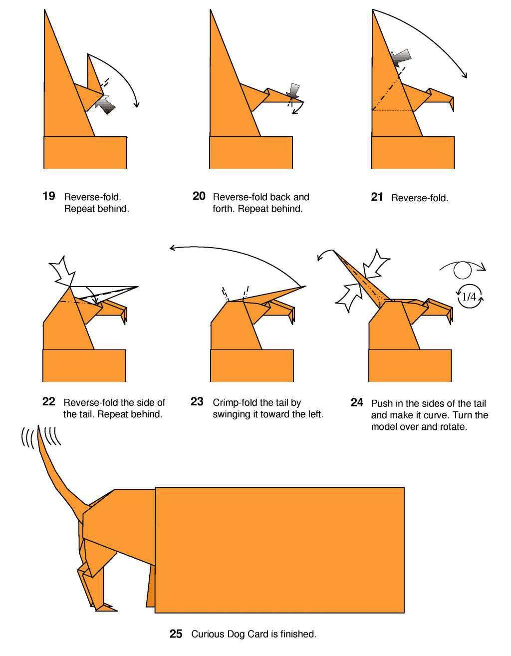 Origami: Origami Curious Dog Card - photo#7