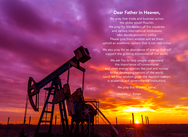 """Prayer for a Free Market Economy and Energy Abundance,"" by the Cornwall Alliance. Illustration by Jim Cooke; photo by Shutterstock. Photo: Jim Cooke / Shutterstock"