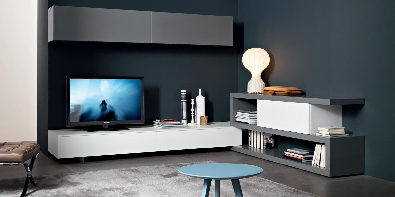 soggiorno Lampo collezione LA CASA MODERNA -L2-23 laccato grigio e bianco composizione ad angolo  .jpg