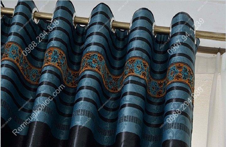 Rèm cửa cao cấp hà nội một màu xanh diềm 4