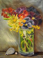 Pansies Flowers in a vase 30*40